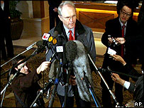 US Assistant Secretary of State Christopher Hill briefs reporters on 18 December 2006