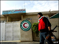 Guard outside Baghdad Red Crescent office