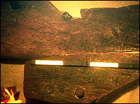 Part of what is believed to be part of the wreckage of the 18th Century warship HMS Wager
