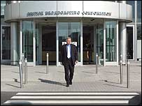 Michael Grade leaving the BBC buildings in White City