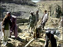 Village near Jalalabad hit by US bomb, 2001