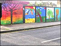 Mural on west London bridge