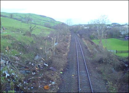 The tornado moved down the railway line depositing debris along the way