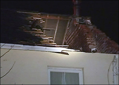 This house had part of its roof ripped off when tornado hit Bow Street near Aberystwyth