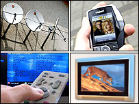 Montage image of satellite dishes, mobile phone TV, PVR and high definition TV
