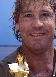 Bindi Irwin reads a speech at a memorial service to her father at Australia Zoo in Beerwah, on 20 September 2006