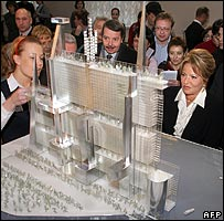 St Petersburg governor Valentina Matviyenko looks at Gazprom architectural design by French Ateliers Jean Nouvel