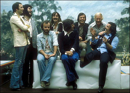 Alan Freeman and fellow Radio 1 DJs in 1974