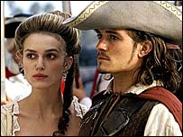 Keira Knightley and Johnny Depp in Pirates of the Caribbean: The Curse of the Black Pearl