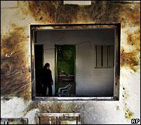 Damaged Palestinian home in Beit Hanoun