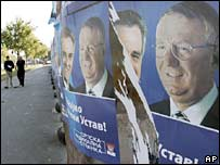 Posters of Mr Seselj's Serbian Radical Party in Belgrade