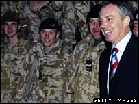 Tony Blair visiting British troops in Iraq