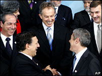 Mr Blair with European Commission President Jose Manuel Barroso and Portugal's prime minister Jose Socrates, at EU summit