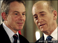 British Prime Minister Tony Blair and his Israeli counterpart Ehud Olmert in Jerusalem