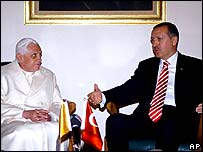 Pope Benedict XVI and Prime Minister Recep Tayyip Erdogan