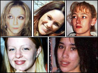 Murder victims (clockwise from top left) Anneli Alderton; Annette Nicholls; Paula Clennell; Tania Nicol; Gemma Adams