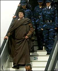 Libyan leader Colonel Muammar Gaddafi 