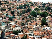 Zona de bajos recursos en Caracas.