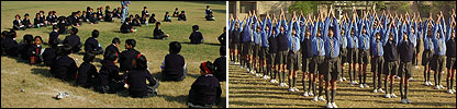 Composite of school children in Delhi and Pakistan taking part in the link-up