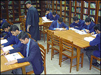 Students studying at Lahore school
