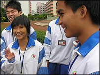 Chinese students at school in semi-urban area