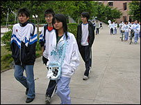 Chinese students at school in rural area