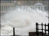 Waves smashing over Scarborough sea-front (Image PA)