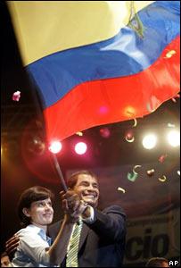 Rafael Correa y su esposa