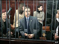 Five of the accused medics behind bars in the courtroom