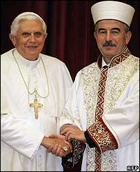 Pope Benedict XVI and Turkey's religious chief Ali Bardakoglu