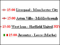 Screen grab from live football site