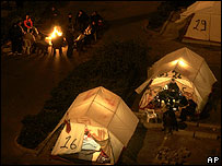 Hezbollah supports camped out in Beirut to demand government's resignation, December 2006