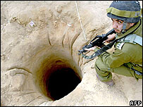 Israeli soldier at the mouth of a tunnel on Gaza's border with Egypt