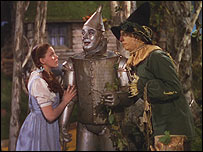 Judy Garland, Jack Haley and Ray Bolger in The Wizard of Oz