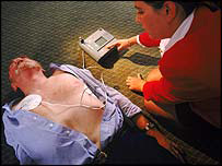 Man receiving defibrillator treatment