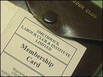 Smethwick Labour Club membership card