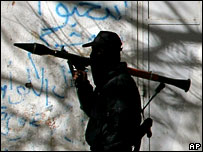 An armed member of Hamas in Gaza