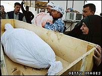 Iraqis collect family member killed in Iraq