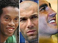 De izq. a der.: Ronaldinho, Zidane y Cannavaro
