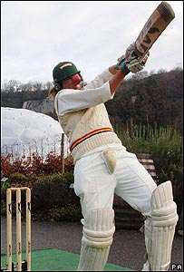 Ben Foster being hit in the face by a cricket ball