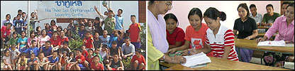 Composite image of Burmese school in Thailand and in India