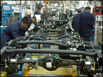 A car factory in India