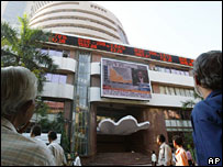 The stock exchange in Mumbai