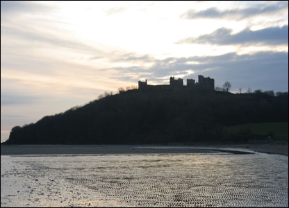 Llansteffan beach and castle sent in by Alun Davies