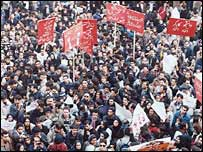A student protest rally on 6 December