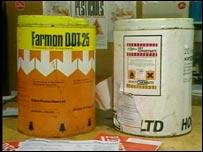 Barrels of DDT pesticide