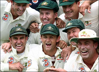Warne celebrates with his Australian team-mates