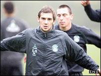 Hibs midfielders Kevin Thomson (left) and Scott Brown