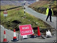 Road block. Image: PA