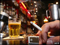 Smoking in a bar